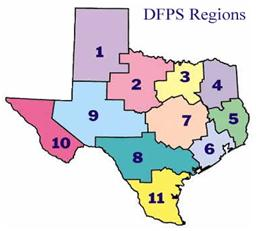 General map of DFPS regions in Texas